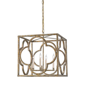Cosette Peppercorn Gold Four-Light Lantern Pendant