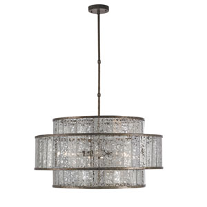 Fantine Pyrite Bronze and Raj Mirror Eight-Light Chandelier