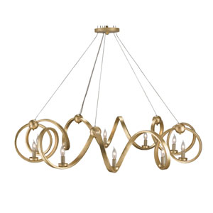 Ringmaster Gold Leaf 46-Inch Ten-Light Chandelier