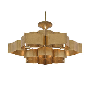 Grand Lotus Antique Gold Leaf Six-Light Chandelier