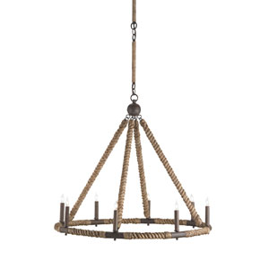 Bowline Natural Rust 33-Inch Eight-Light Chandelier