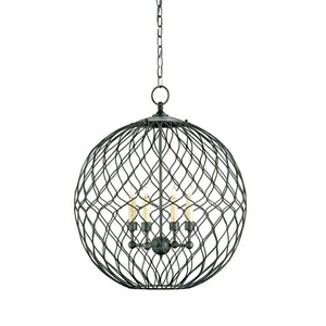 Simpatico  Hiroshi Gray Four-Light  Orb Chandelier