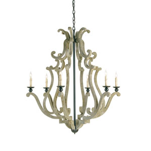 Durand  Old Iron and Portland Six-Light Chandelier