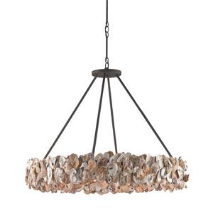 Oyster Circle Textured Bronze Eight-Light Pendant