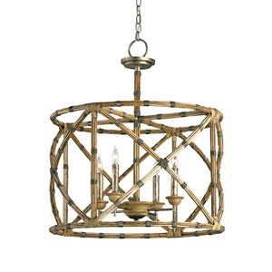 Palm Beach Pyrite Bronze and Washed Wood and Natural Four-Light  Lantern