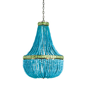 Pyrite Bronze and Turquoise and Jade Four-Light Hedy Chandelier