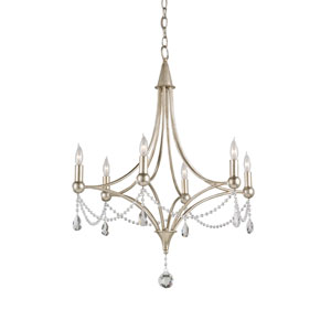 Etiquette Chinois Antique Silver Leaf Six-Light Chandelier