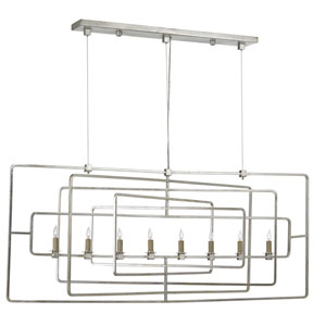 Metro Contemporary Silver Leaf Eight-Light Linear Pendant