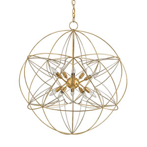 Zenda Contemporary Gold and Silver Leaf Ten-Light Globe Pendant