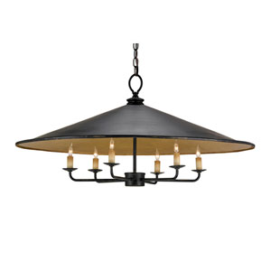 Brussels French Black & Contemporary Gold Leaf Six-Light Pendant