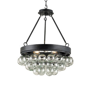 Balthazar French Black Three-Light Ceiling Mount