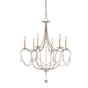 Crystal Lights Silver Leaf Six-Light Small Chandelier