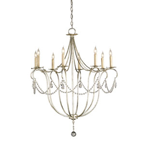 Crystal Lights Silver Leaf Eight-Light Large Chandelier