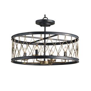Crisscross French Black and Pyrite Bronze Four-Light Ceiling Mount