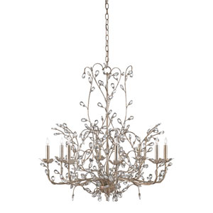 Crystal Bud Silver Granello Eight-Light Chandelier