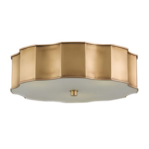 Wexford Antique Brass Three-Light Flush Mount