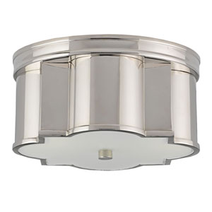 Wicklow Polished Nickel Two-Light Flush Mount