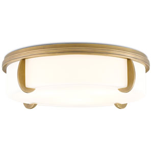 The Compeer Antique Brass and White Opaque Glass Three-Light Fluorescent Flush Mount