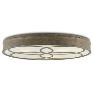 Bramshill Rustic Gold and Alabaster Three-Light Flush Mount