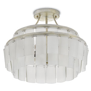 Vintner Contemporary Silver Leaf and Opaque White Three-Light Semi-Flush Mount