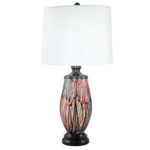 Halen Ebony Black and White One-Light Painted Crystal Table Lamp