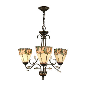 Springdale Antique Gold and Bronze Three-Light Crystal Leaf Tiffany Chandelier