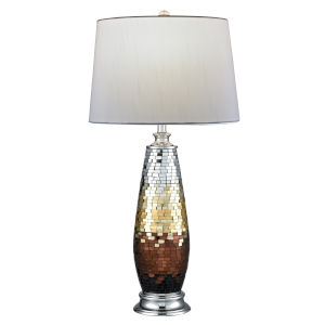 Springdale Coppula Polished Chrome and Bronze One-Light Mosaic Art Glass Table Lamp