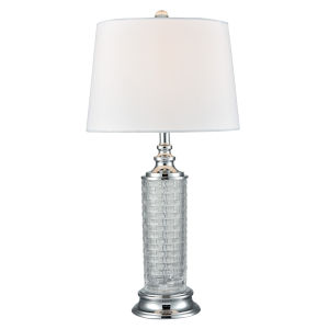 Springdale Polished Chrome and White Varigated One-Light Crystal Table Lamp