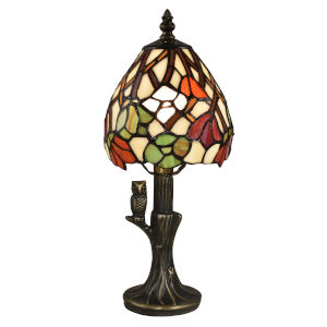 Antique Bronze Owl Garden One-Light Tiffany Accent Lamp