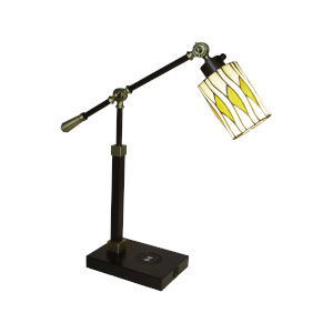 Reno Antique Bronze Tiffany One-Light Accent Lamp with Wireless and USB Charger