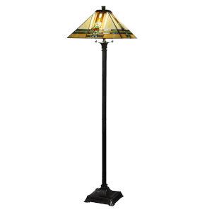 Springdale Mica Bronze Palo Mission Two-Light Tiffany Floor Lamp