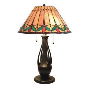 Dark Antique Bronze Jardin Two-Light Tiffany Table Lamp