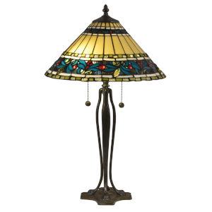 Antique Bronze and Verde Jeweled Leaves Two-Light Tiffany Table Lamp