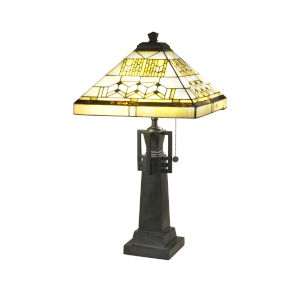 Antique Bronze Akron Tower Two-Light Tiffany Table Lamp