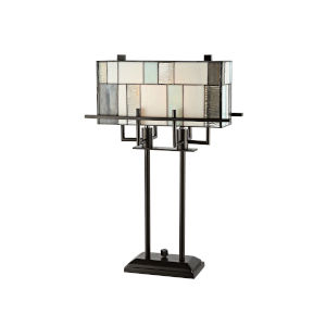 Bronze Stonegate Two-Light Tiffany Table Lamp