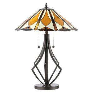 Bronze Diamond Flare Two-Light Tiffany Table Lamp