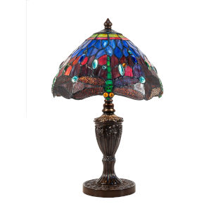 Antique Bronze Ginevra Dragonfly Two-Light Tiffany Table Lamp