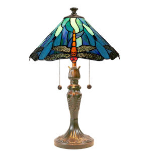 Antique Bronze Huxley Dragonfly Two-Light Tiffany Table Lamp