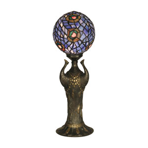 Antique Bronze Art Glass Globe Peacock Table Lamp