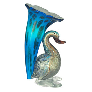Duck Lily Glass 10.25-Inch Accent Lamp