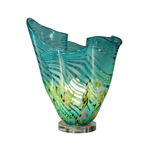 Coral Wave Metal/Crystal 14.5-Inch Accent Lamp