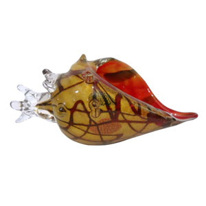 Hand Blown Art Glass 10-Inch Seashell Figurine