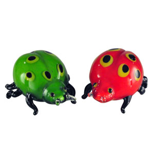 Hand Blown Art Glass 6-Inch 2-Piece Lady Bug Sculptures