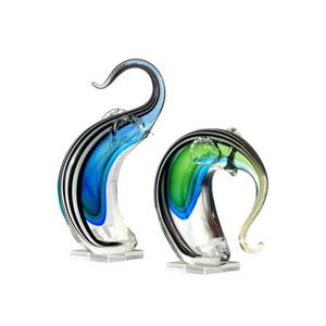 Hand Blown Art Glass 7-Inch 2-Piece Deco Elephant Sculptures