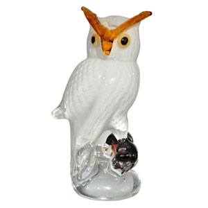 Hand Blown Art Glass 5-Inch Owl Art Glass Figurine