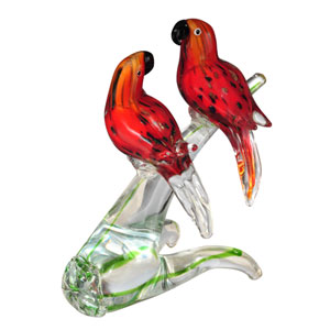 Hand Blown Art Glass 9-Inch Love Birds Figurine