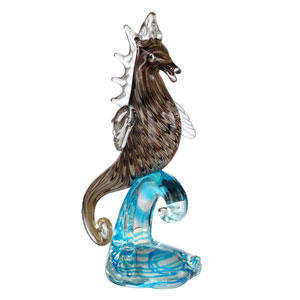 Hand Blown Art Glass 7-Inch Sea Horse Figurine