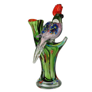 Hand Blown Art Glass 7-Inch Watchful Bird Figurine
