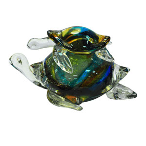 Hand Blown Art Glass 7-Inch Colorful Sea Turtle Figurine