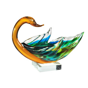 Hand Blown Art Glass 9-Inch Swan Bowl Sculpture